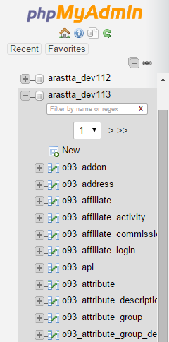 exporting database of arastta