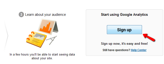 Signing up for Google Analytics