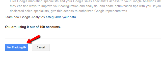 Obtaining a Tracking ID for Google Analytics