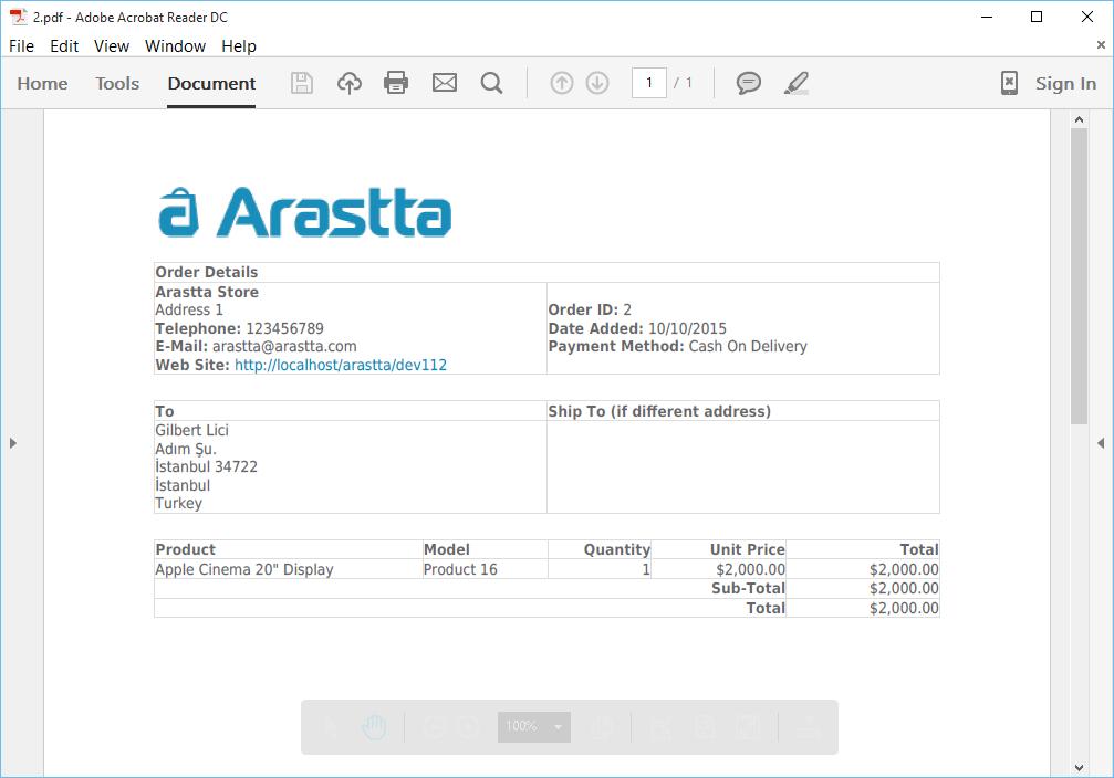 Orders - Documentation - Arastta eCommerce
